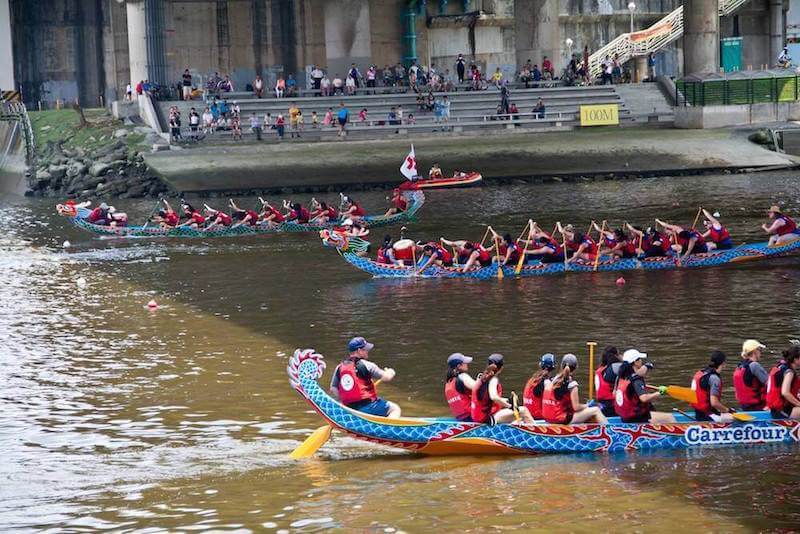 Dragon boats in mid-race