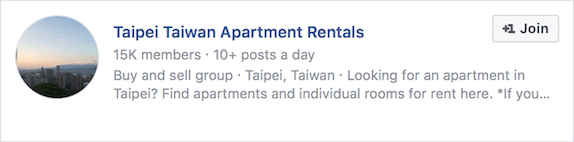 Apartment Rentals Facebook group
