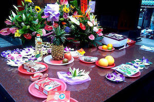Temple offerings to the parades