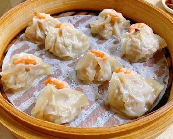 Shrimp dumplings at Qi