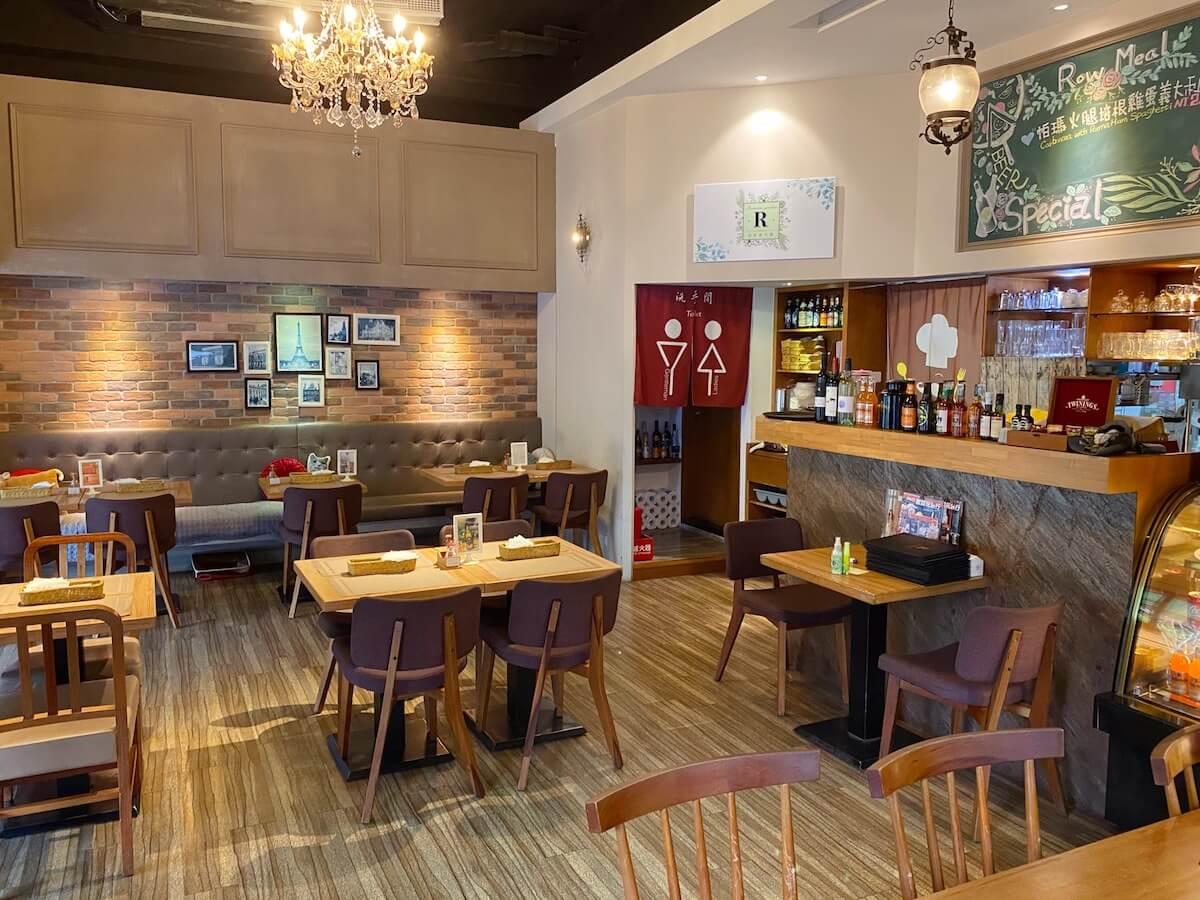 Inside the romantic restaurant