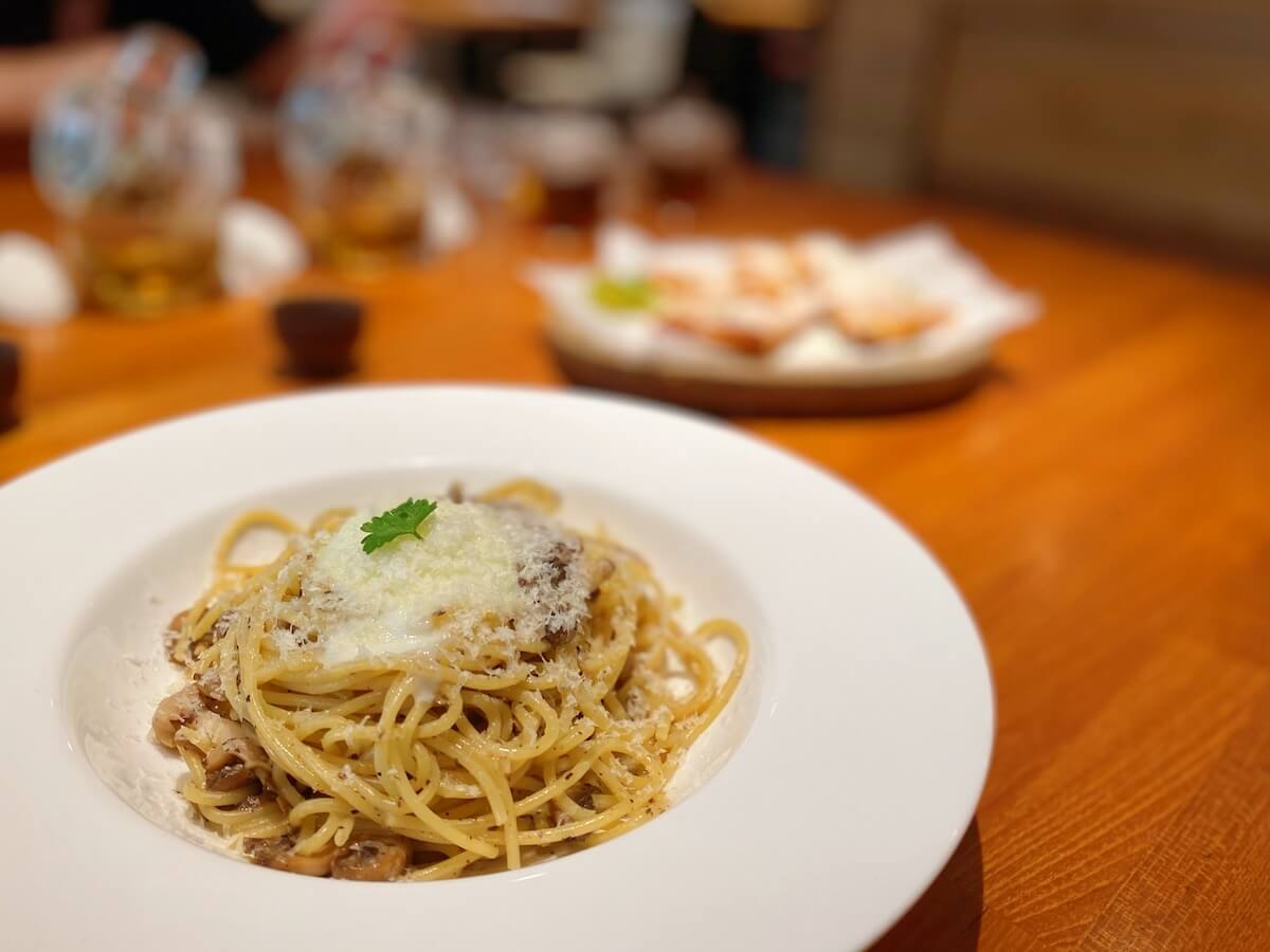 Spaghetti with Truffle, Mushrooms and Egg