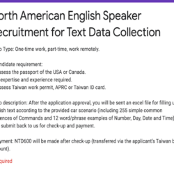 North American English Speaker Recruitment for Text Data Collection