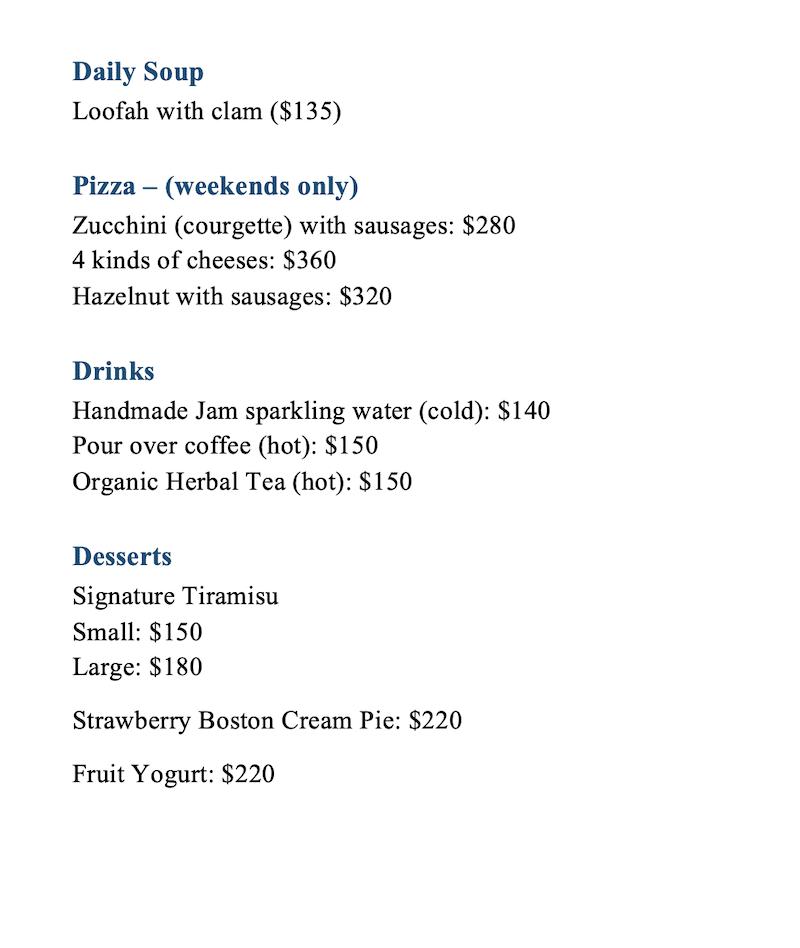 Take a Moment menu 2